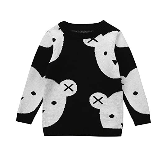 46bc6e895 Amazon.com: OUBAO Child Coat Cute Design Toddler Kid Boys Girls Clothes  Knitted Bear Print Sweater Cardigan Warm Tops: Clothing