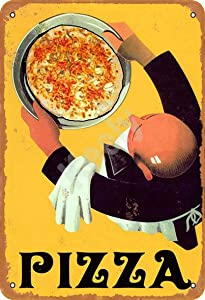 Keely Food Pizza Waiter Restaurant Italian Kitchen Metal Vintage Tin Sign Wall Decoration 12x8 inches for Cafe Coffee Bars Restaurants Pubs Man Cave Decorative