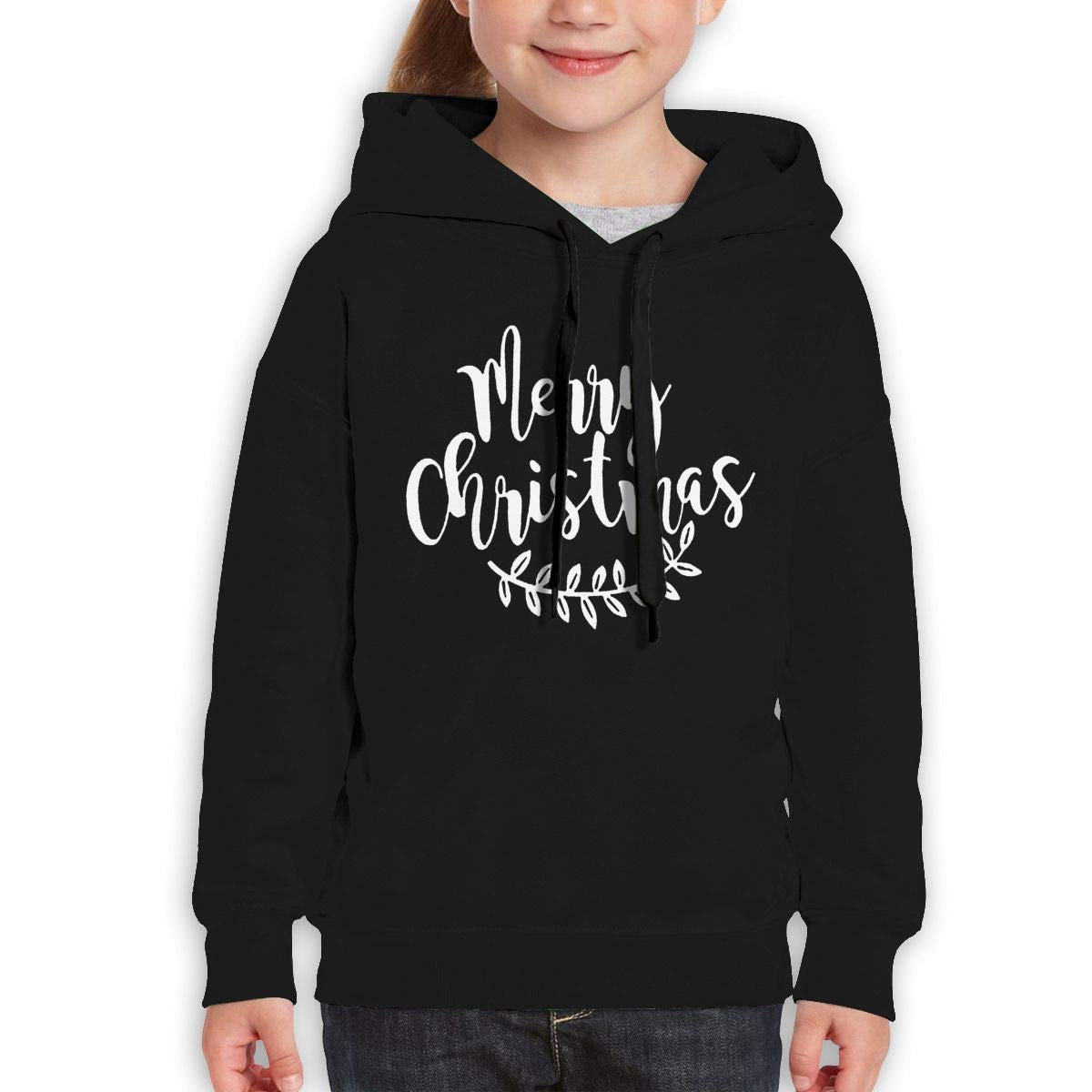 Boys Girls Merry Christmas Teen Youth Hoody Black