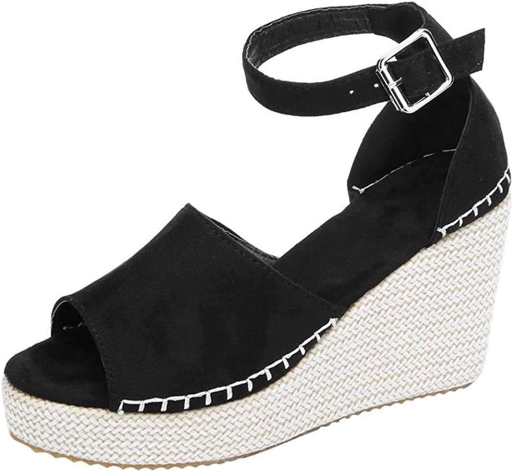 Women's Girls Wedge Ankle Strap Sandals