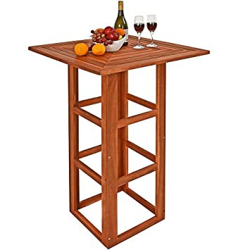 Deuba Table de Bar carrée Jardin terrasse en Bois d\'acacia Table ...