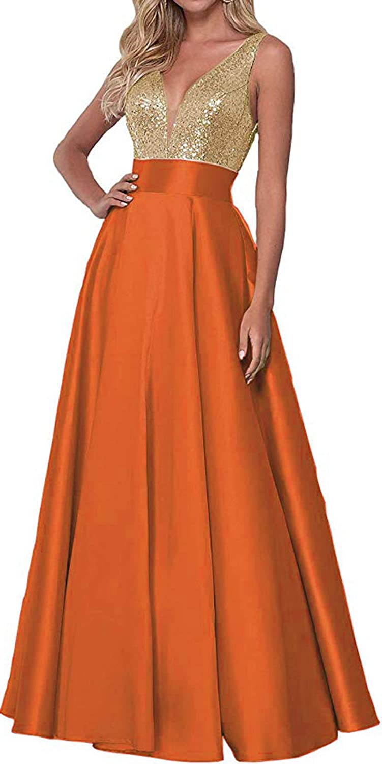 orange Rmaytiked Womens Sequins V Neck Prom Dresses Long 2019 Satin A Line Bridesmaid Dresses Formal Evening Ball Gowns