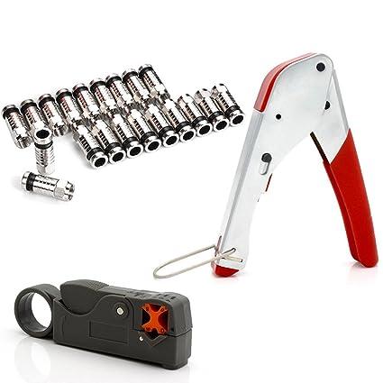 AVESON Kit de herramientas de compresión rizadora para cable coaxial RG6 RG59 conector tipo F BNC