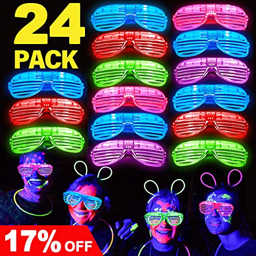 Joyork July Deals 24 Pack LED Light Up Glasses LED Light Up Party Favors Neon Light Up Shutter Shades Flashing Grow Glasses Glow in The Dark Party Supplies for Kids -