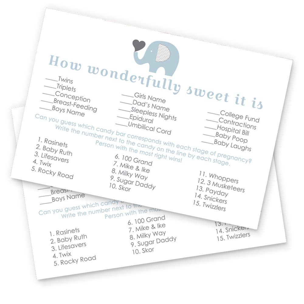 Paper Clever Party Blue Elephant Baby Shower Candy Bar Game Card - 25 Pack by Paper Clever Party