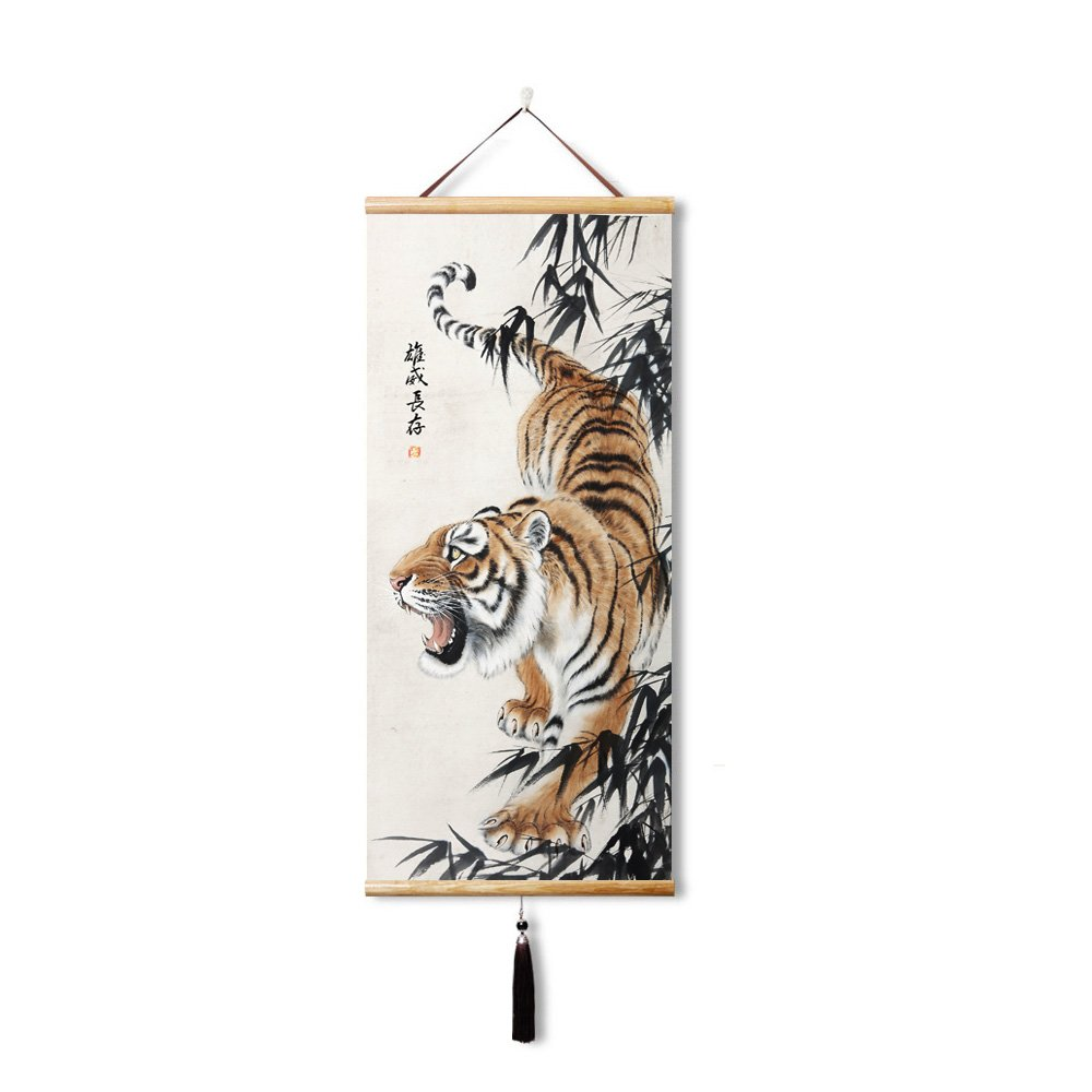 EAPEY Prints artwork Canvas Prints Down the Down the tiger Paintings Reproduction Chinese tiger on Canvas Wall Art for Bedroom Home Decorations (45x100cm)