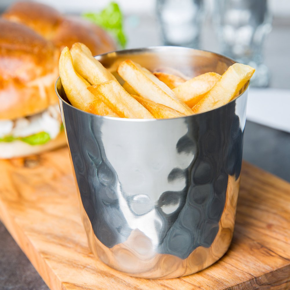 American Metalcraft Hammered Stainless Steel French Fry Cup, 3.37 x 3.37 x 3.37 inch -- 1 each.