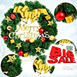 Christmas Wreaths For Front Door Merry Christmas Wreath Christmas Wreath Supplies Wreath Rattan Ring With Stars Color Ball Gifts Box Decorating For Window Christmas Tree Wall Store Gate(60cm-red)