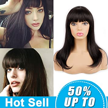 Long Straight Synthetic Hair Wigs With Bangs for Black Women Andromeda  Women\u0027s Cheap Natural