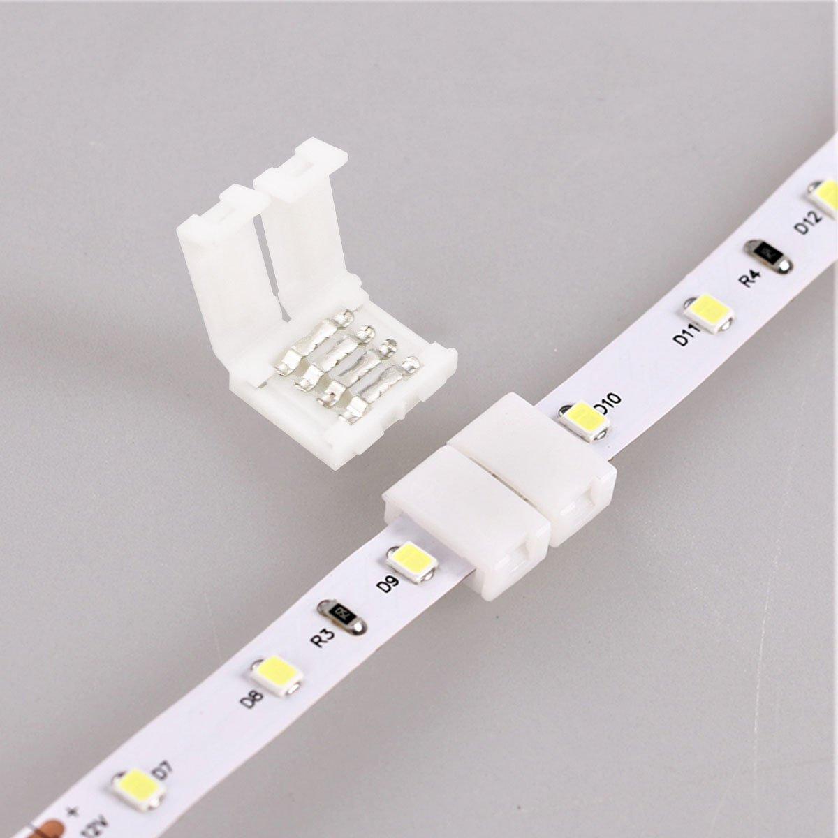 Fixget 20 Pzas Conector en Forma, Conector de Luz de Tira Conector Rápido de Luz de Cinta LED Conector LED SMD 5050/3528 RGB de 10mm Ancho: Amazon.es: ...
