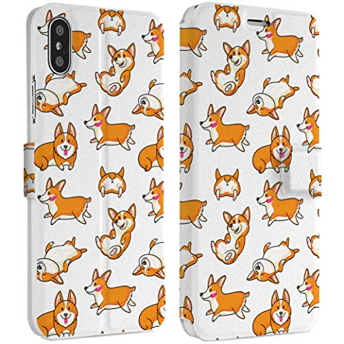 Wonder Wild Funny Corgi iPhone Wallet Case X/Xs Xs Max Xr Case 7/8 Plus 6/6s Plus Card Holder Accessories Smart Flip Clear Design Protection Cover Cute Puppy Little Dog Pet Adorable Shorty Kawaii