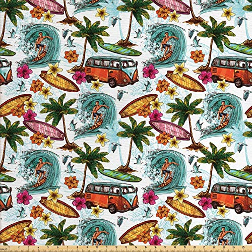 Ambesonne Ocean Fabric by The Yard, Hawaiian Surfer on Wavy Deep Sea Retro Style Palm Trees Flowers Surf Boards Print, Decorative Fabric for Upholstery and Home Accents, 2 Yards, Multicolor ()