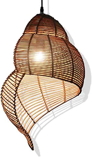 Creative Rattan Bamboo Pendant Light Pastoral Southeast Asia Living Room Bedroom Dining Room Tea House Cafe Retro Spiral Ceiling Pendant Lamp,Brown,35 * 50cm