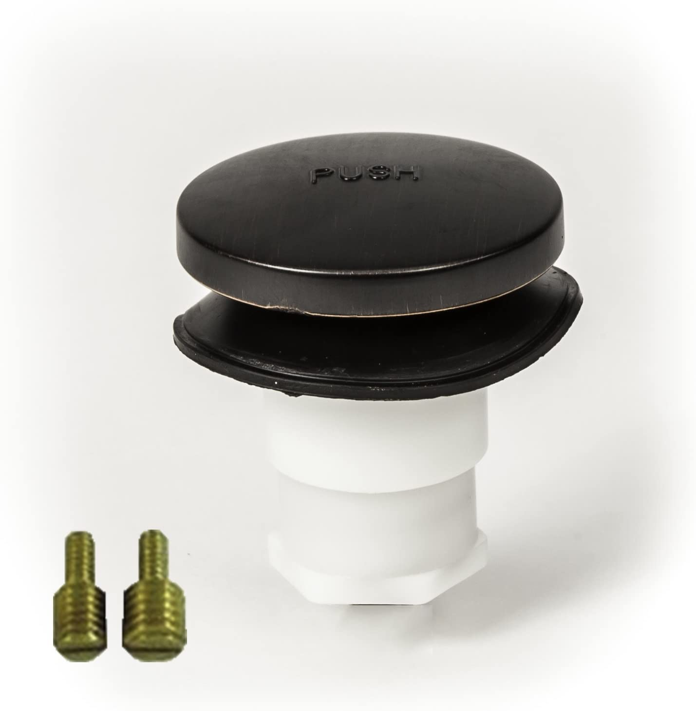 "PF WaterWorks PF0935-ORB Universal Touch (Tip Toe or Foot Actuated) Bathtub/Bath Tub Drain Stopper includes 3/8"" and 5/16"" Fittings, No Hair Catcher, Oil Rubbed Bronze"