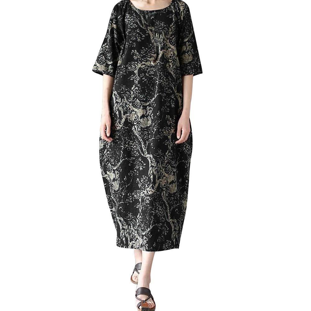 Sikye Women Large Size Loose Printing Round Neck Cotton Mid Calf