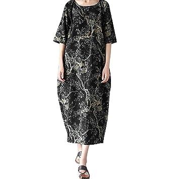 acheter pas cher cc383 8cb39 SamMoSon Robe Longue Femme ete,Robes maternité,Soirée, Dames en Vrac  Impression Rond Cou Coton Longue Robe Grand Taille