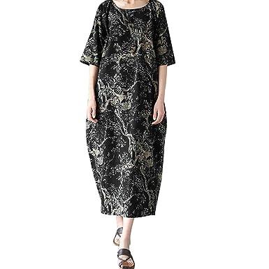 b1050b3026f76 AMSKY❤Maxi Dress, Women Ladies Loose Printing Round Neck Boho Print ...
