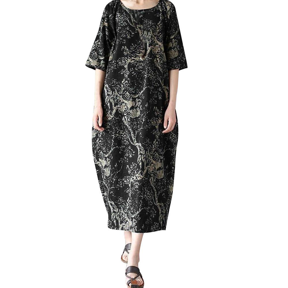 AMSKY Maxi Dress with Pockets,Women Ladies Loose Printing Round Neck Cotton Long Dress Large Size BK/3XL,Coats, Jackets & Vests,Black,3XL