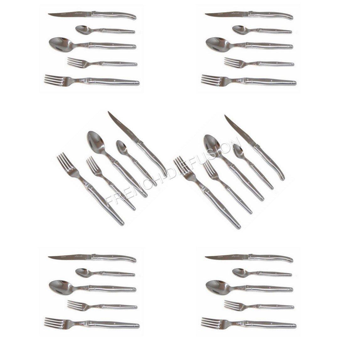 LAGUIOLE® Jean DUBOST - Cubertería completa de 30 piezas, acero inoxidable 25/10, hoja de 2,5 mm de espesor - compuesta por: 6 cuchillos de mesa + 6 ...