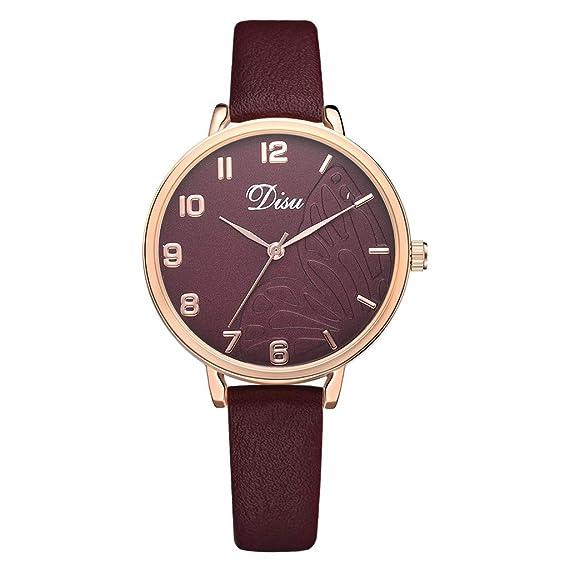 Reloj Mujer Correa De Cuero Reloj Dama Moda Lujo Cuarzo Relojes Esfera De Mariposa Analógica Patrón Watches: Amazon.es: Relojes