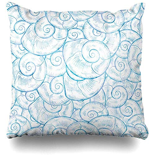 (Decorative Throw Pillow Cover Cushion Case Shell Blue Spa Seashells Watercolor Summer Conch Nature White Aquarelle Aquatic Beach Coast Design Home Decor Pillowcase Square Size 18