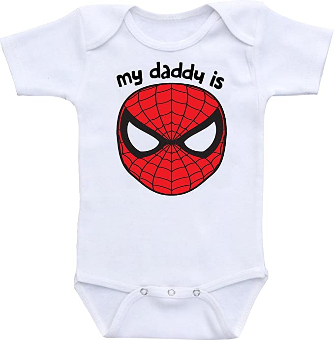 Manta My Daddy Is Spiderman Funny Baby Onesie Bodysuit (0-6 Months)