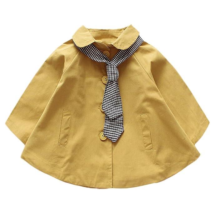 Gabardina Corta para Niña Infantil Niño, Gusspower Lindo Abrigo de Invierno Chaqueta con Bufanda Rayas Vestido Suelto Chaquetas de botón 1-5Años: Amazon.es: ...