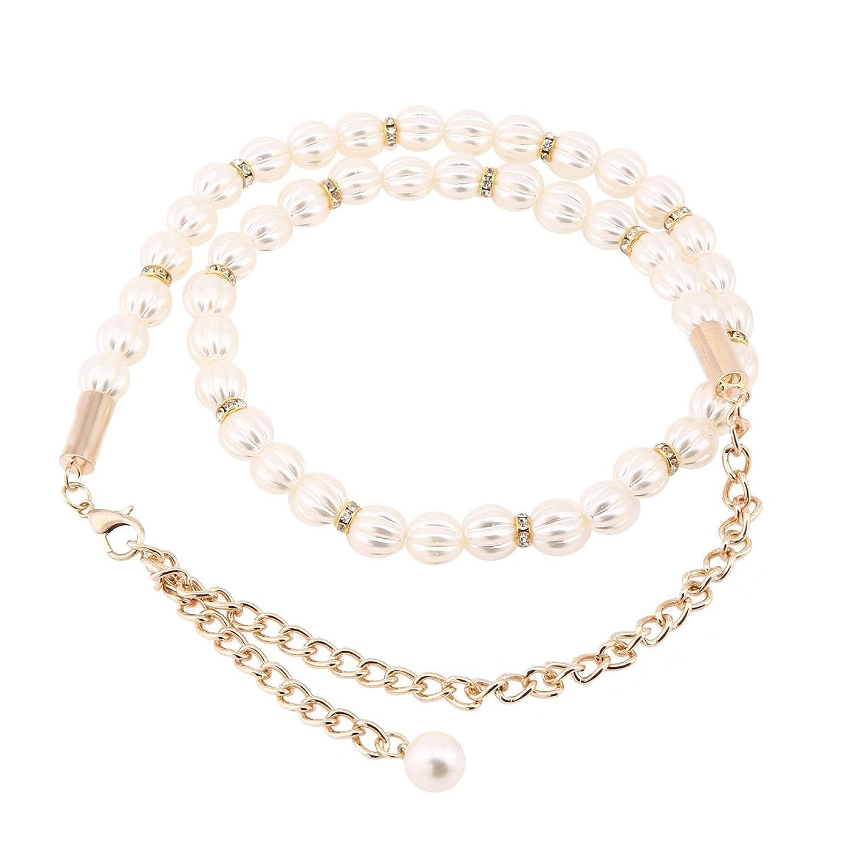 Damara Damen Weiß Schöne Faux Pearl Kettengürtel Mit Karabinerverschluss