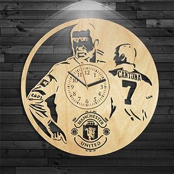 Amazon.com: Cantona Wood Clock, Birthday Gift, Manchester United ...