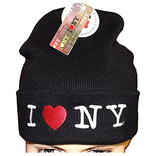 I Love NY Heart Winter Hat Beanie Skull Cap Officially Licensed Black