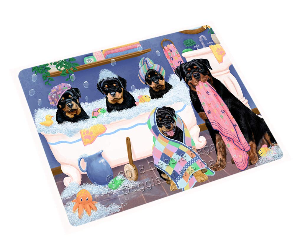 Rub A Dub Dogs in A Tub Rottweilers Dog Blanket BLNKT130746 (50x60 Plush)