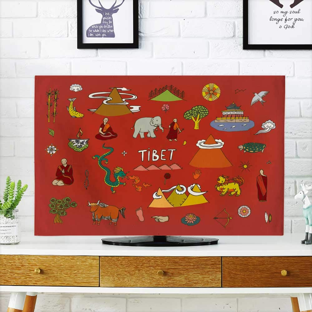 Analisahome tv dust Cover Tibet Travel Vector Set Dust Resistant Television Protector W19 x H30 INCH/TV 32''