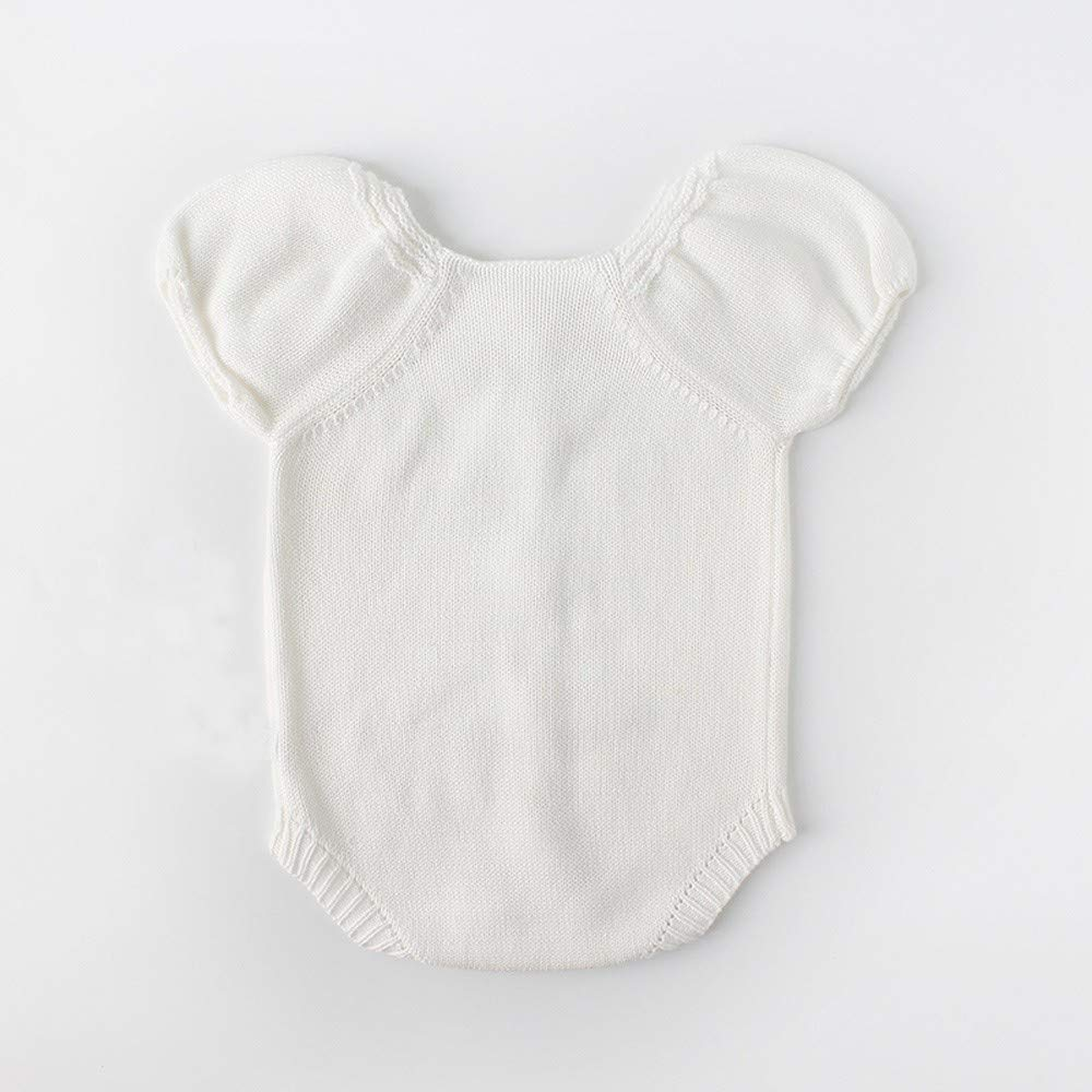 NUWFOR Newborn Baby Girls Boys Knitted Toddler Puff Sleeves Jumpsuit Clothes Outfits(White,12-18Months) by NUWFOR (Image #2)