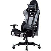 GTRACING Gaming Chair Office Chair Racing Computer Chair with Adjustable Headrest & Armrest and Lumbar Support (Gray)