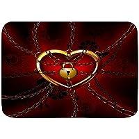 "VSNKSU Bath Mat Rug,Red Background Chain Lock Heart,Plush Bathroom Decor Mats with Non Slip Backing,29.5"" X 17.5"""