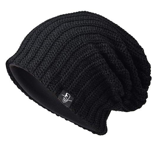 f45c782a3b1 Ruphedy Men Knit Slouchy Beanie Skull Cap Oversized Winter Long Baggy  Stretchy Ski Hat N010 (