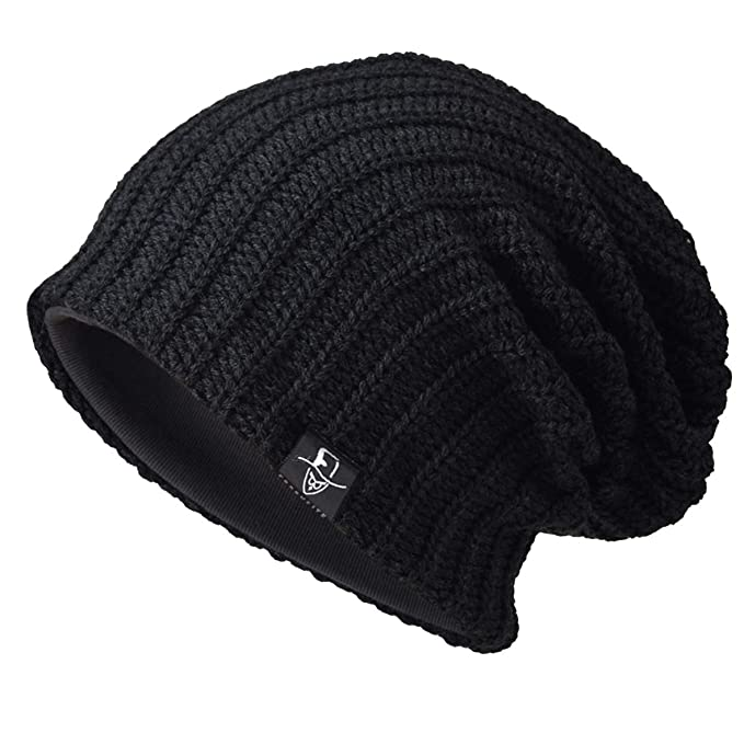 2a548ffca53 Ruphedy Men Knit Slouchy Beanie Skull Cap Oversized Winter Long Baggy  Stretchy Ski Hat N010 (