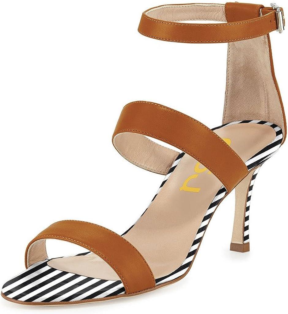 FSJ Women Retro Dot Ankle Strap Sandals Strappy Open Toe Kitten Heel Shoes Resorts Dating Office Size 4-15 US