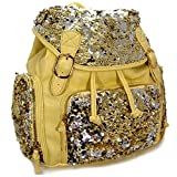 "Fabulous! Glitzy Sequin Backpack Purse Sequins 15"" (Yellow)"