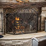 Rosalinda Black Gold Finish Floral Iron Fireplace Screen by Great Deal Furniture