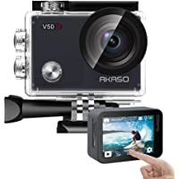 AKASO アクションカメラ 2インチタッチスクリーン 超高画質 4K/30fps WiFi搭載 EIS手ぶれ補正 外部マイ部対応 170度広角 スポーツカメラ 30m防水 水中カメラ リモコン付き ウェアラブルカメラ バイク/自転車/車に取り付け可能 メーカー12ヶ月安心保証 V50X (ブラック)