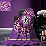 smallbeefly Lotus Digital Printing Blanket Arabesque Chakra and Meditation Circle Asian Spiritual Hippie Yoga Illustration Summer Quilt Comforter Yellow Purple