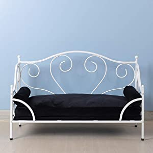 Yoonnie room Pet Bed, Dog Bed with White Metal Frame and Detached Thick Cushion for Small Dog Summer Using