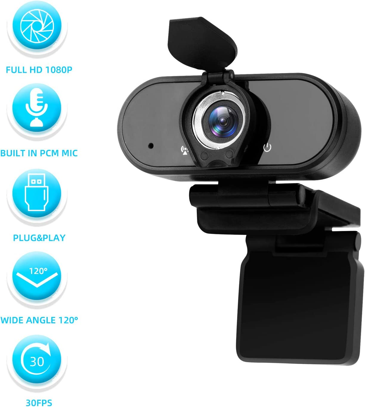 2020 New Full HD 1080p Webcam,SAFEVANT PC Webcams with Microphone,Plug & Play USB Webcam for Desktop & Laptop,Streaming Web cam with Wide Dynamic Range for Video Conferencing Record
