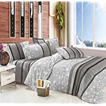 Grey Duvet Cover Set Queen, White Tree Leaves Pattern Printed on Gray, Soft Microfiber Bedding with Zipper Closure (3pcs, Queen Size)
