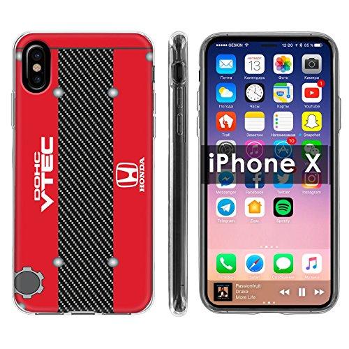 [Case86] Apple iPhone X [Clear] Slim Flex Gel Phone Cover [B16 Motor Print]