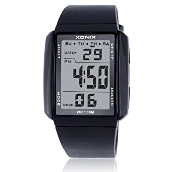 los digitales luminosos dos tablas/A prueba de agua reloj digital deportivo-C: Amazon.es: Relojes