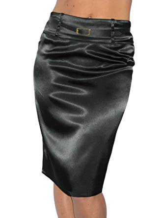 ICE (2328) stretch black satin pencil skirt-14 at Amazon Women's ...