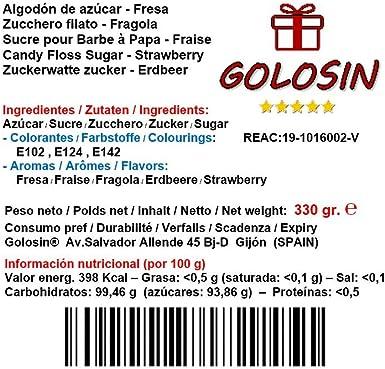 Azúcar para máquina de Algodón - Sabor Fresa (330gr.) - CALIDAD ...