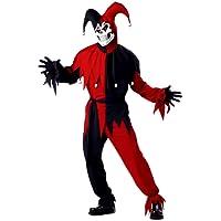 California Costumes Evil Jester Joker Red and Black Costume